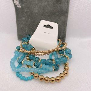 Beautiful 7 pc set bracelet Blue/Gold